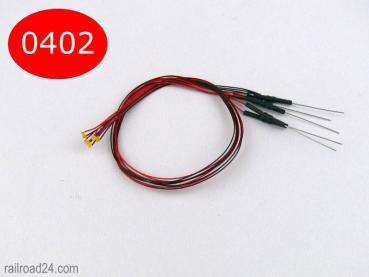 5x LED 0402 red with cable and resistor.