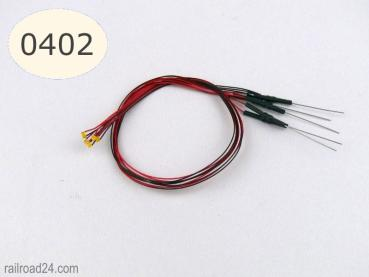 5x LED 0402 warmwhite with cable and resistor.