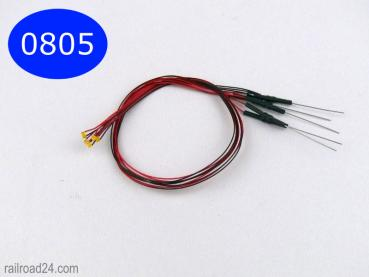 5x LED SMD 0805 blue with cable and resistor.