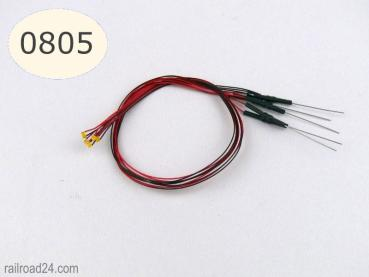 5x LED SMD 0805 warmwhite with cable and resistor.